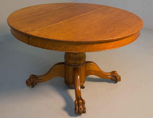 SOLD Antique Victorian Oak Claw Foot Split Base Dining Table