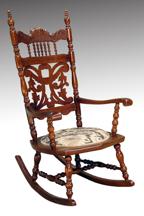 Image 1 - SOLD Antique Victorian Cutout Carved Oak Press Back Rocker **REDUCED