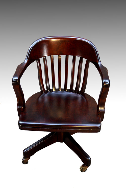 sold mahogany bankers lawyers swivel tilting office chair maine