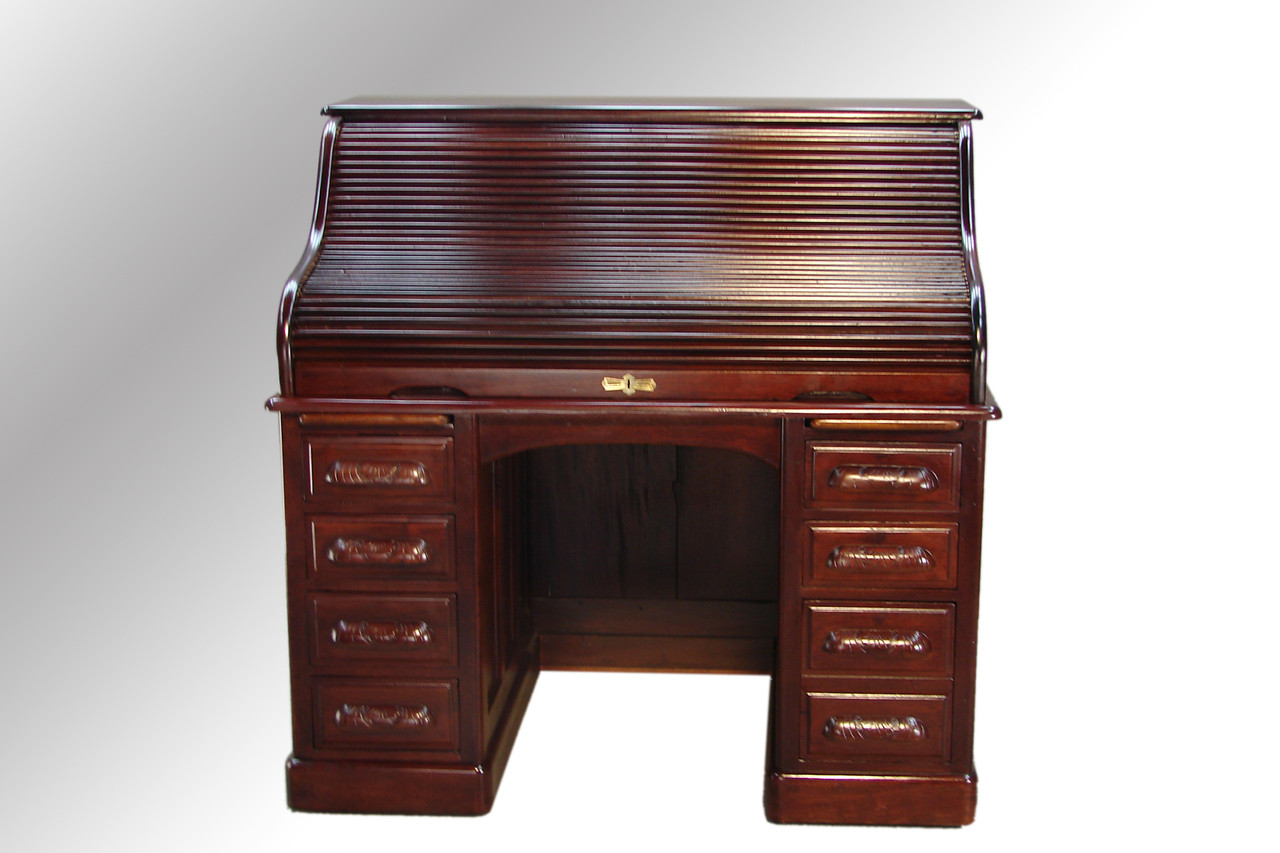 ... SOLD Antique Mahogany Lawyer's Victorian Roll Top Desk. Image 1 - SOLD Antique Mahogany Lawyer's Victorian Roll Top Desk - Maine