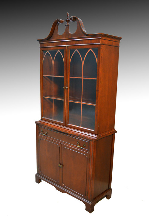 SOLD Mahogany Duncan Phyfe Curved Glass Corner China Cabinet ...