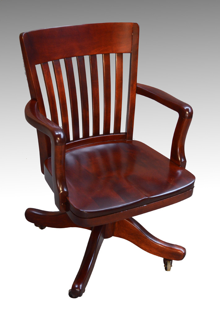 sold antique mahogany bankers lawyers swivel office chair maine