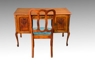 16747 Carved Oak Flat Top Desk with Chair
