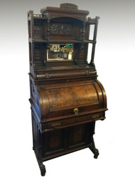 SOLD Rare Victorian Cylinder Davenport Gallery Top Desk