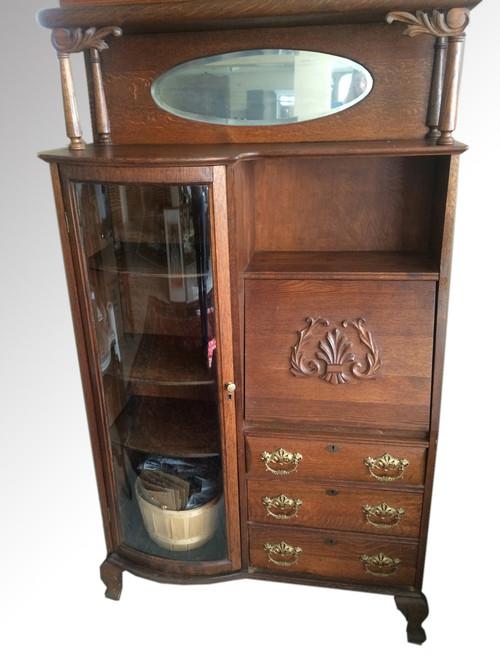 ... SOLD Antique Oak Side by Side Secretary Desk by Larkin. Image 1 - SOLD Antique Oak Side By Side Secretary Desk By Larkin - Maine