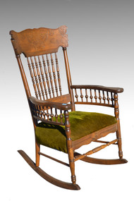 18141 Antique Victorian Country Press Back Rocker Rocking Chair **REDUCED PRICE**