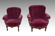 SOLD Pair of Barrel Front Upholstered Overstuffed Parlor  **REDUCED PRICE**