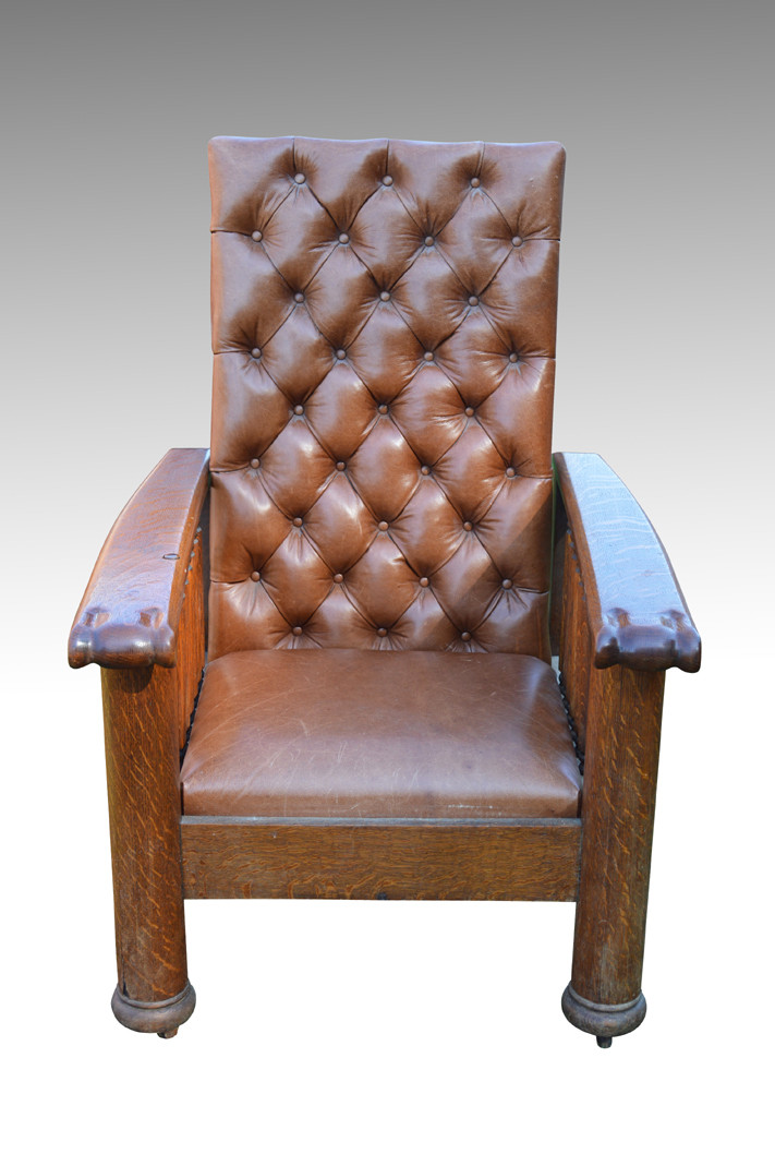 ... Leather Oak Reclining Morris Chair. Image 1  sc 1 st  Maine Antique Furniture & SOLD Unusual Leather Oak Reclining Morris Chair - Maine Antique ...