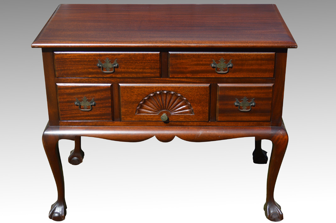 Image 1 - 18109 Mahogany Chippendale Ball And Claw Lowboy **REDUCED PRICE