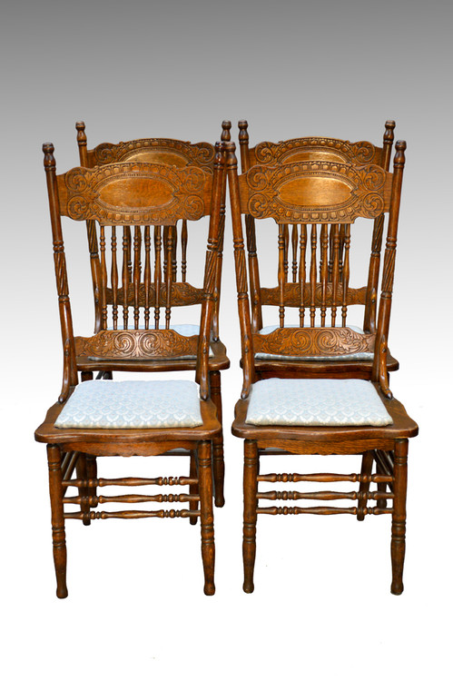 Image 1 - SOLD Antique Set Of 4 Larkin #1 Press Back Chairs - Maine Antique