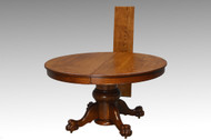 16808 Antique Victorian Large Bulbous Base Oak Round Dining Table with Claw Feet