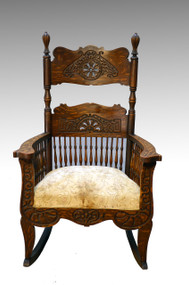 SOLD Oversized Multi-Spindle Heavily Carved Oak Victorian Rocker    **REDUCED PRICE**