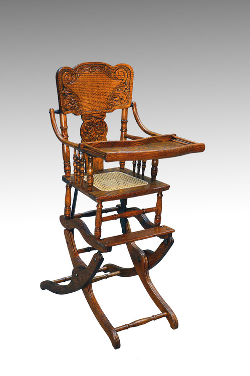 ... 16176 Antique Victorian Oak Press Back Rocker Collapsible High Chair.  Image 1 - 16176 Antique Victorian Oak Press Back Rocker Collapsible High Chair