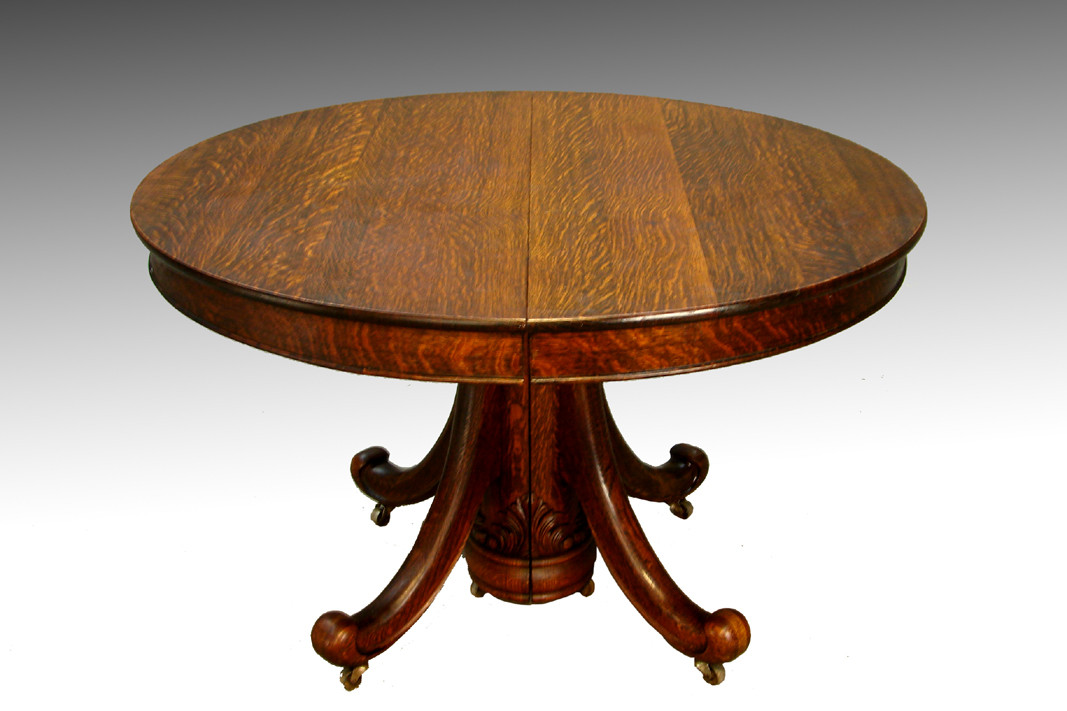Sold antique victorian round oak dining table with leaf for Round oak dining table with leaf