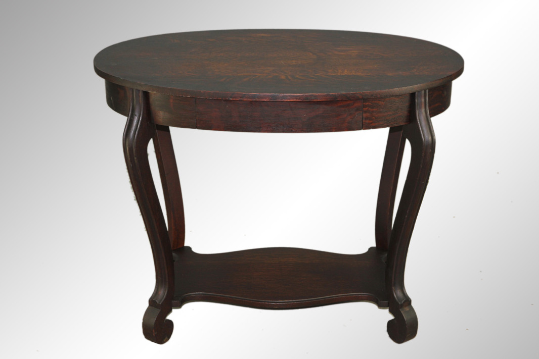 ... SOLD Antique Oval Oak Library Table. Image 1