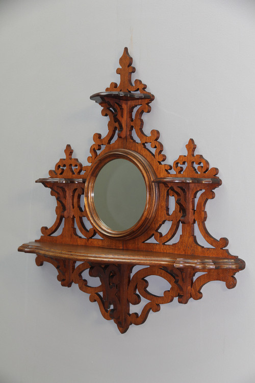 Sold Antique Hanging Victorian Walnut Whatnot Shelf With