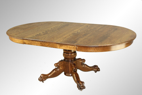 Image 1 - SOLD Antique Round Oak Claw Foot Lion Head Dining Table - Maine