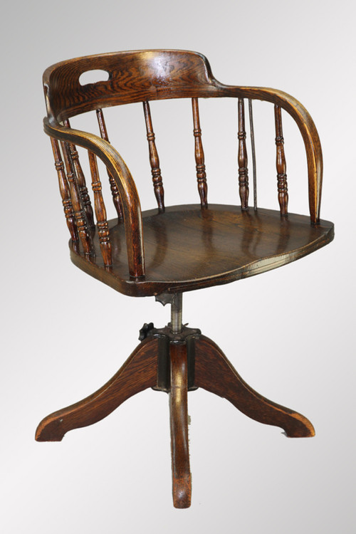Sold antique oak country swivel office chair maine