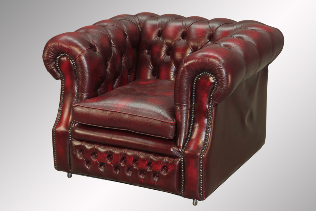 ... Leather Chesterfield Cube Chair. Image 1 & SOLD Antique 100-percent Red Leather Chesterfield Cube Chair - Maine ...