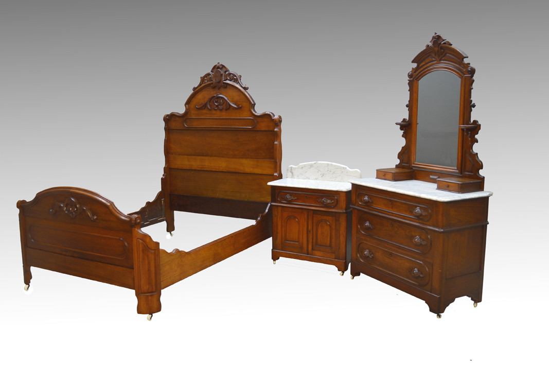 Sold Antique 3 Three Piece Walnut Victorian Marble Top Bedroom Set Maine Antique Furniture