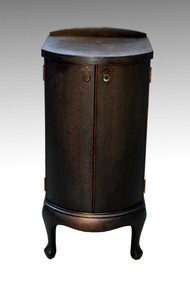 SOLD Very Unusual & Rare Antique Mahogany Record/ Metal Disc Cabinet w/Cylinder Front Doors