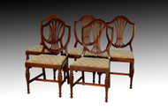 SOLD  Vintage Set of 5 Five Sheraton Formal Mahogany Dining Room Kitchen Chairs