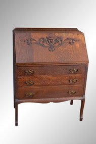 SOLD Antique Victorian Oak Slant Top Desk with Lion Face Carving