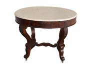 18147 Antique Rosewood Oval Marble Top Table - Civil War Era