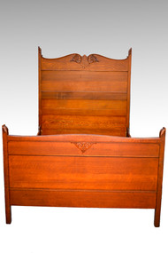 16859A Antique Carved Oak Victorian Full Size Bed
