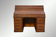 SOLD Antique Victorian Tiger Sawn Oak Raised Panel Full Interior Lawyer's Roll Top Desk