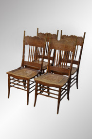 SOLD Antique Set of 4 Oak Victorian Pressback Dining Chairs