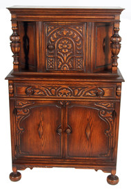 19506 Oak Carved Jacobean Bar Cabinet **REDUCED PRICE**