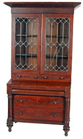 SOLD Empire Flame Mahogany Civil War Era Secretary Desk