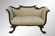SOLD Antique Mahogany Regency Claw Foot Carved Victorian Sofa