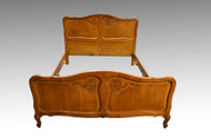 SOLD French Victorian Raised Panel Carved Oak Bed