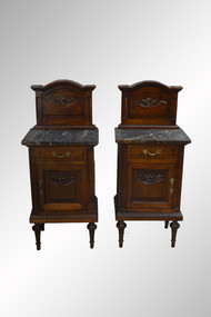 SOLD Pair of French Walnut Marble Top Bedside Stands- High Quality