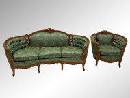 SOLD Antique Two Piece French Victorian Carved Parlor Set – Sofa & Chair