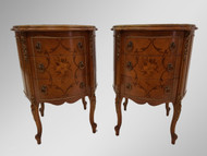 SOLD Pair of French Marble Top End tables Inlaid Nightstands