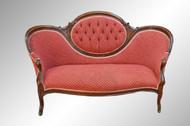 16921 Antique Victorian Cameo Back Carved Civil War Era Sofa
