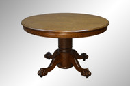 SOLD Antique Round Oak Claw Foot Dining Table -4 Feet – 2 leaves