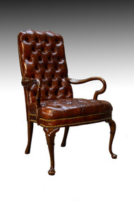 SOLD 100% Genuine Leather Chippendale Tufted Arm Chair by Schafer Brothers