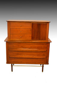 16942 Walnut and Teak Tall Chest – Modernism