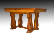 SOLD Oak Carved Drawer Leaf Dining Table