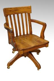 SOLD Oak Lawyers / Banker Refinished Swivel Tilt Office Chair