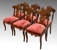16962 Antique Set of 6 Period Empire Civil War Era Dining Chairs