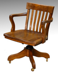 16959 Antique Oak Turn of the Century Swivel Office Chair