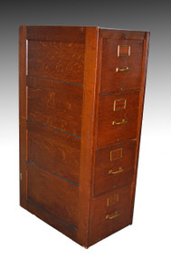 16967 Oak Four Drawer Standard Size File Cabinet