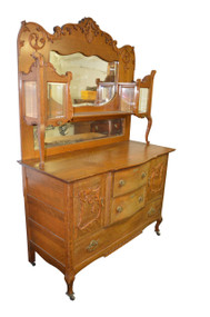 18213 Oak Carved Sideboard / China Buffet