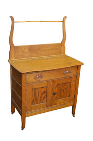18210 Oak Victorian Commode / Wash Stand with Towel Bar