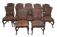 SOLD Rare Set of 12 Mahogany Art Nouveau Leather Dining Chairs